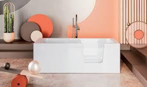 badewanne für barrierefreies bad mit tür rechts und integrierter abnehmbarer sitzbank für senioren avo 140 cm