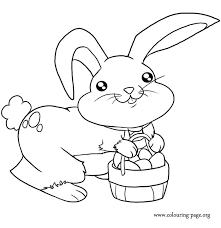 A Cute Easter Bunny Carrying Basket Of Eggs Coloring Page
