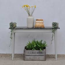 Zinc Topped Hand Crafted Slim Console Table