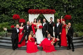 Bride In Liancarlo Bridesmaids Strapless Red Dresses Groom Armani Groomsmen