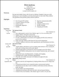 Example Nanny Resume Examples Of Resumes Template