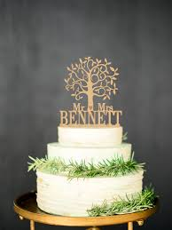 Wooden cake topper Mr Mrs Rustic Cake Topper Personalized Tree