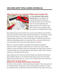 100 Truck Title Loans Car And Auto Title Loans Covina Ca By Westcovinatitle Issuu