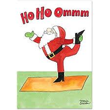 B1885 Box Set Of 12 Santa Yoga Christmas Funny Card With Envelopes