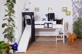 weißes kinder hochbett mit rutsche und turm buche massivholz 90x200 cm