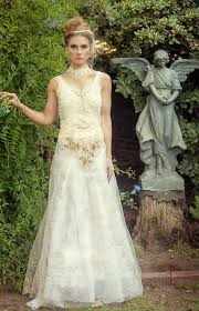 Ivory Brown And White Romantic Victorian Woodland Rustic Bridal Gown