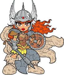 Female Warrior Tough Sexy Anime Manga Princess With Battle Axe And Shield 5 Soldier Clipart