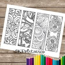 Instant PDF Download Coloring Page Bookmark Design 2 Zendoodle Zentangle Inspired Printable