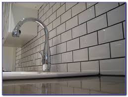 Grey Tiles With Grey Grout by White Subway Tile Backsplash Dark Grout Tiles Home Design