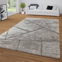hochflor teppich grau anthrazit wohnzimmer schlafzimmer shaggy muster gecarvt größe 120x160 cm