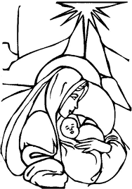 Baby Jesus Mary And Christmas Star Colouring Page