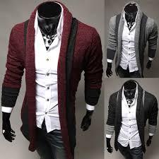 Mens Cardigans Casual Slim Splice Style Design Men Cardigan Knitwear