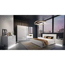 luk furniture lina ii schlafzimmer komplett set komplettprogramm weiß hochglanz mit bett schrank kommode und nachtschränke 4 teilig spiegel