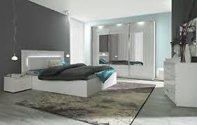 komplett schlafzimmer hochglanz weiß mit led bett schrank