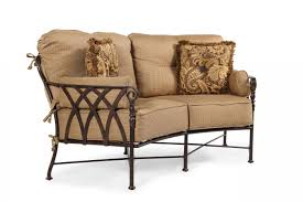 Veranda Metal Patio Loveseat Glider by Lattice Aluminum Loveseat With Cushion In Brown Mathis Brothers