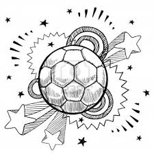 Doodle Style Soccer Or Futbol Sports Illustration With Retro