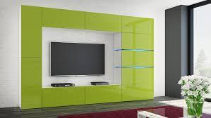 wohnwand shadow lime hochglanz weiß 285 cm mediawand anbauwand medienwand design modern led beleuchtung hochglanz stehend tv wand