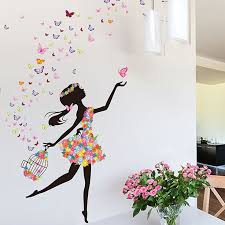 Wallpaper Tv On Sale At Reasonable Prices Buy Flower Fairy Wall Sticker Dancing Girl Music Art Decals Removable Waterproof Character Design Mural