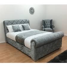 double bed frame silver