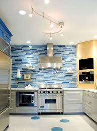 Attractive Blue Kitchen Idea With Large Refrigerator And Other Electric Appliances White Drawer Built In