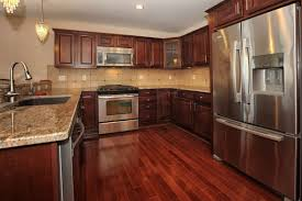 Divine Home Interior With Dark Brown Wood Floor Excellent Design Ideas Using Silver Widespread Single