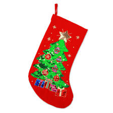 Christmas Stocking Features A Glistening Green Tree Fully Dressed In Ornaments Topped With Shining Gold Star And Presents Beneath All