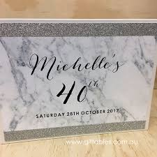 Birthday Guest Book Marble Glitter Silver