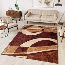 tapiso teppich wohnzimmer modern kurzflor braun hellbraun beige meliert streifen kreise wellen schlafzimmer esszimmer ökotex 200 x 300 cm