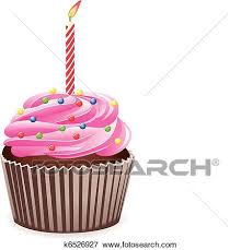 Clip Art vector cupcake with burning candle Fotosearch Search Clipart Illustration Posters