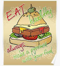 Healthy eating burger pyramid Poster