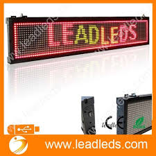 Leadleds RGY Tri Color 30 X 63 In Usb Programmable LED Sign Board Scrolling Message Display For Business