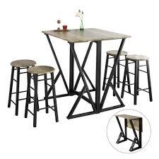 sobuy ogt24 n 5 teilige essgruppe esstisch mit 4 stühlen klapptisch esszimmer sitzgruppe küche küchentisch holztisch klappbar im industrial look