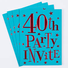 40th Birthday Decorations For Him by 40th Birthday Party Invitation Cards Pack Of 10 Only 1 49
