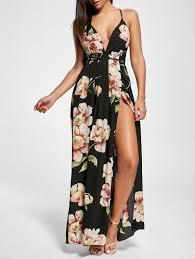 floral print slit open back maxi dress in black 2xl sammydress com