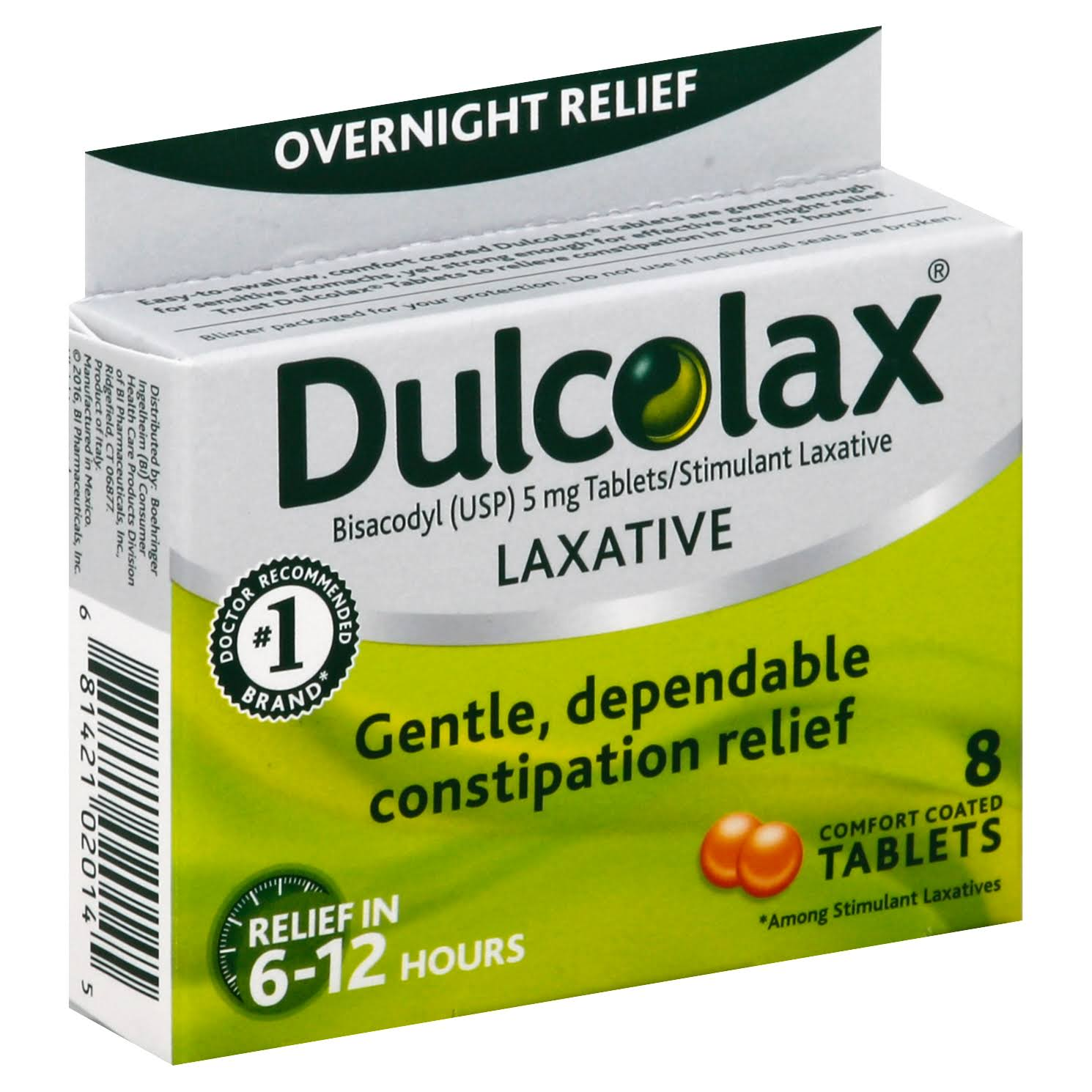 Dulcolax Overnight Relief Laxative Comfort Coated Tablets - 8 Pack