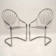 100 1960 Vintage Metal Outdoor Chairs Pair Of Retro Chromed Steel Dining Side S