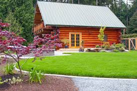 Modern Log Cabin Landscape Rustic With Wooden Outdoor Flower Pots