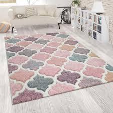 orient teppich rosa bunt wohnzimmer pastellfarben marokkanisches design kurzflor grösse 80x300 cm