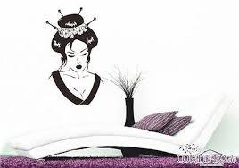 geisha wandtattoo asiatisch wandaufkleber japanische kirschblüte wohnzimmer deko