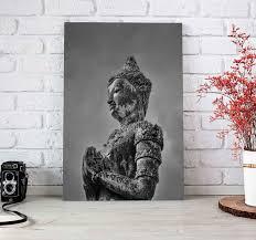 buddha wandbild graue buda