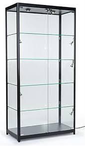 locking showcase black frame melamine showcase