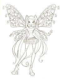 For Kids Download Winx Coloring Pages 13 In Line Drawings With