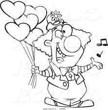 Vector Of A Happy Cartoon Clown Singing And Holding Valentines Day Balloons