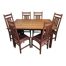 Stickley Mission Dining Table + Six Ellis Chairs, A Set ... Kitchen Design Oak Ding Room Table Chairs Art Piece Mission Craftsman Vermont Woods Studios Set Amish And 4 Side New Classic Fniture Designed Nhport With Chair Home Envy Furnishings Solid Wood Floor Lighting Frame Architecture Arts Bathroom Bepreads Custom Made Cherry Style Fixtures Prairie Chandeliers Closeout Special Price Modern Leg 6 Chairs