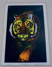 Vintage Sealed NOS 70s Tiger Black Light Psychedelic 11 3 4 X 17 Poster