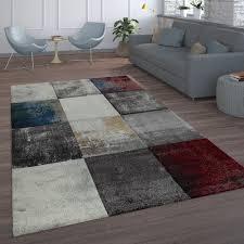 wohnzimmer teppich karo muster gemälde kurzflor