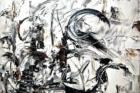 Modern Artwork Thumbnail Black White Abstract Art Paint The Address On Wall And Paintings Large Painting