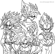 Dragon Ball Z Color Page Cartoon Characters Coloring Pages Plate Sheet