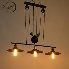 New Loft America Pulley Lifting Pendant Lights Creative Industrial Vintage Lighting For Dining Room Bar