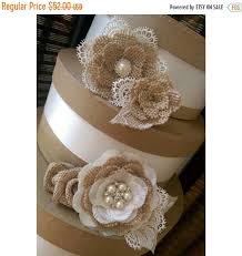 SUMMER SALE Rustic Burlap And Lace Cake Flowers With Vintage Inspired Brooches Jewels